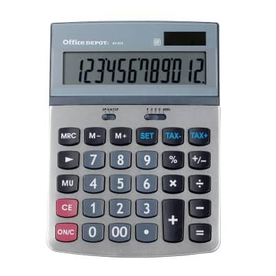Office Depot Desktop Calculator AT-812T Silver 12 Digit Display