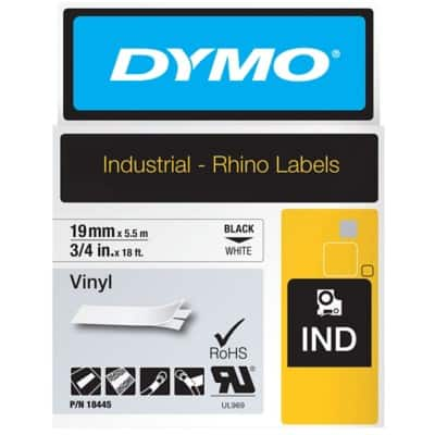DYMO Labelling Tape Industrial 19 mm x 5.5 m Black , White