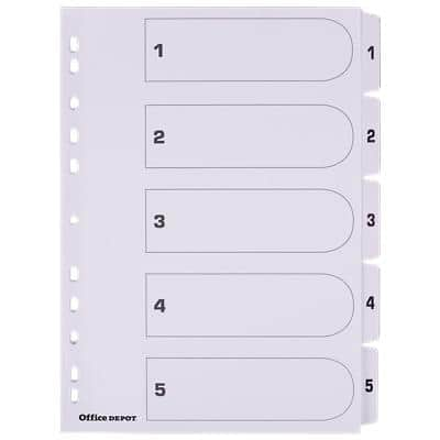 Office Depot Dividers A4 White 5 Part Perforated Card 1 to 5