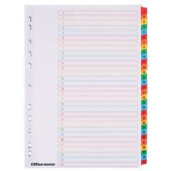 Office Depot Coloured Mylar Dividers, White (Coloured Tabs) Board, A4, 31 Part 1-31 Numbered - Set