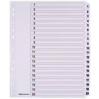 Office Depot Dividers A4+ White 20 Part Perforated Card 1 to 20