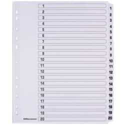 Office Depot Mylar Dividers, White Board, A4 Extra Wide, 20 Part 1 20 Numbered Set