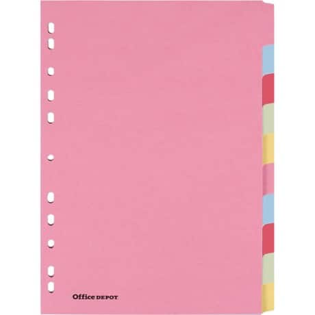 Office Depot Dividers A4 Multicolour 10 tabs 11 paper blank 10 pieces