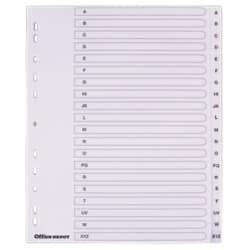 Office Depot Polypropylene Dividers, White Polypropylene, A4 Extra Wide, 20 Part a Z Set