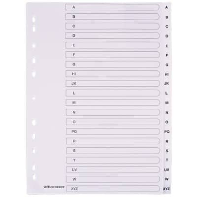 Office Depot Dividers 28232 A4 White 20 tabs Perforated Polypropylene A - Z