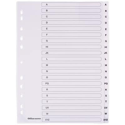 Office Depot Dividers 28232 A4 White 20 Part Perforated Polypropylene A - Z