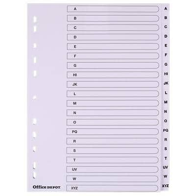 Office Depot Dividers A4 White 20 Part Perforated Board A - Z