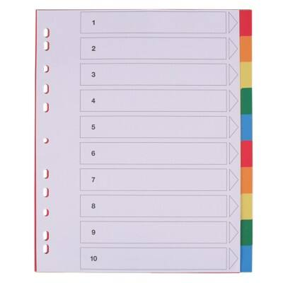 Office Depot Dividers 28201 A4+ Assorted 10 tabs Perforated PP Blank 10 Pieces
