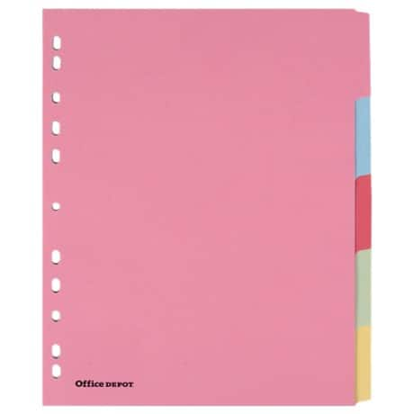 Office Depot Punched Dividers, Coloured Manilla, A4 Extra Wide, 5 Part Blank Set