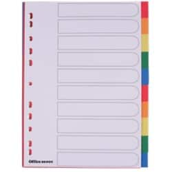 Office Depot Polypropylene Dividers, White (Coloured Tabs) Polypropylene, A4, 10 Part Blank - Set