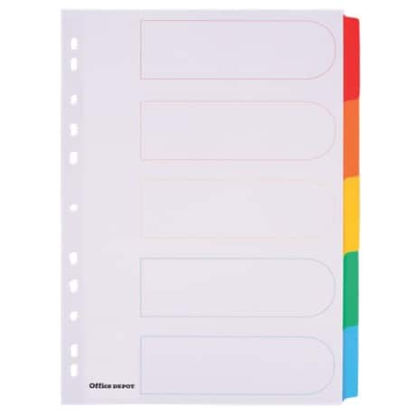 Office Depot Coloured Mylar Dividers, White (Coloured Tabs) Board, A4, 5 Part Blank - Set