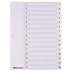 Office Depot Polypropylene Dividers, White Polypropylene, A4, 15 Part 1-15 Numbered - Set