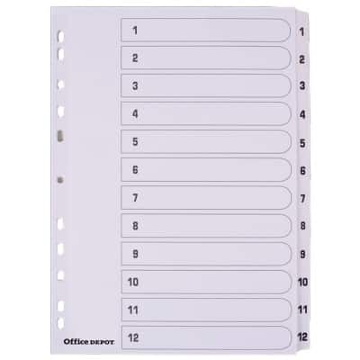 Office Depot Dividers A4 White 12 tabs Perforated Card 1 to 12