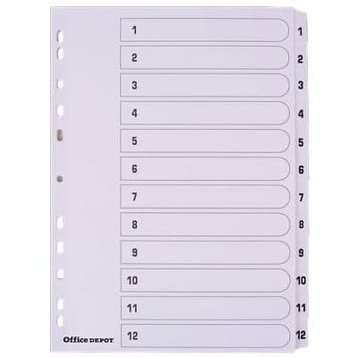 Office Depot Indices A4 White 12 Part Perforated Card 1 to 12