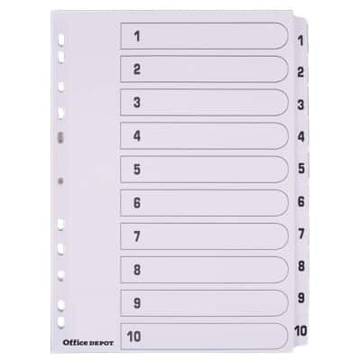 Office Depot Dividers A4 White 10 tabs Perforated Card 1 to 10