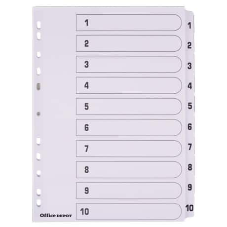 Office Depot Mylar Dividers, White Board, A4, 10 Part 1-10 Numbered - Set