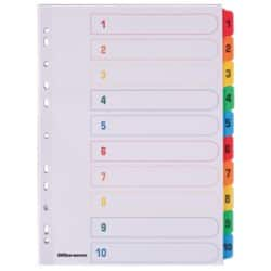 Office Depot Coloured Mylar Dividers, White (Coloured Tabs) Board, A4, 10 Part 1-10 Numbered - Set