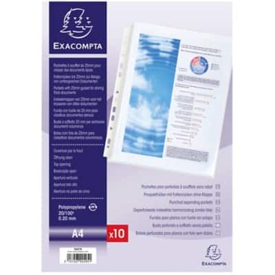 Exacompta Punched Pockets 5507E A4 Polypropylene Perforated 200 Micron Transparent