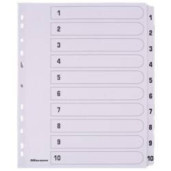 Office Depot Mylar Dividers, White Board, A4 Extra Wide, 10 Part 1 10 Numbered Set