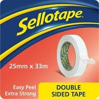 Sellotape Double Sided Tape 1447052 25 mm x 33 m White