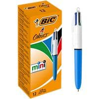 BIC 4 Colours Mini Retractable Ballpoint Pen Medium 0.4 mm Pack of 12