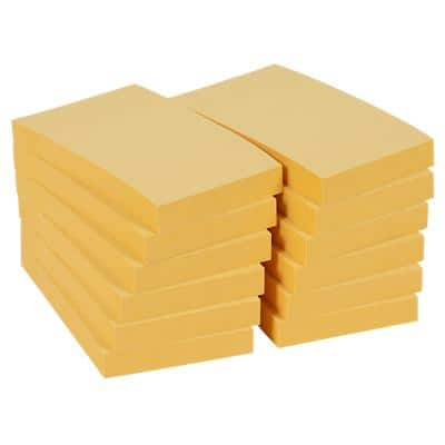 Office Depot Sticky Notes 51 x 76 mm Pastel Yellow 12 Pieces of 100 Sheets