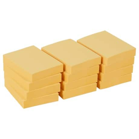 Office Depot Sticky Notes Yellow 38 x 50 mm - 12 pads per pack