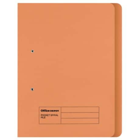 Office Depot Spring Coil Flat File Foolscap Orange Manilla 354 x 344 x 25 mm 50 Pieces