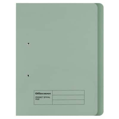 Office Depot Spring Coil Flat File Foolscap Green Manila 354 x 344 x 25 mm 50 Pieces