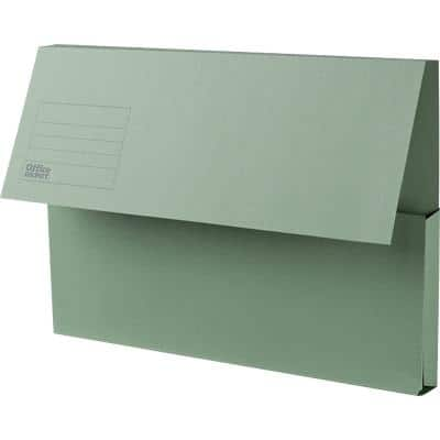 Office Depot Document Wallets Foolscap Green Manila Extra capacity 35.4 x 7 x 24 cm 25 Pieces