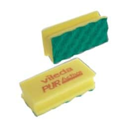 Pack of 10 Vileda PUR Active Foam Backed Scourer Yellow