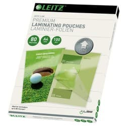 Leitz Laminating Pouches Glossy 80 Microns A4 100 Pieces