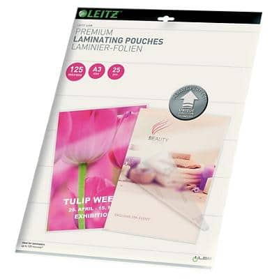 Leitz Laminating Pouches Glossy 2 x 125 (250 Micron) A3 Pack of 25
