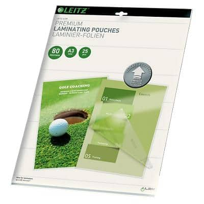 Leitz Laminating Pouches Glossy 2 x 80 (160 Micron) A3 Pack of 25