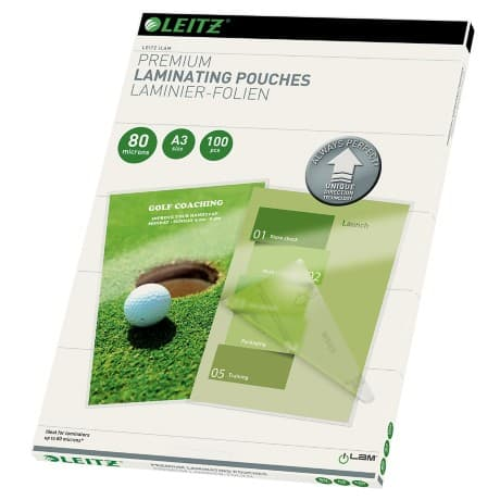Leitz Laminating Pouches Glossy 2 x 80 (160) µm A3 100 Pieces