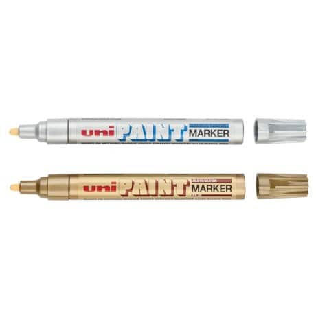 uni Paint Marker PX20 Medium Twin Pack - Gold and Silver