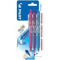 Pilot Frixion Clicker Retractable Rollerball Pen Erasable Medium 0.4 mm Assorted Pack of 3
