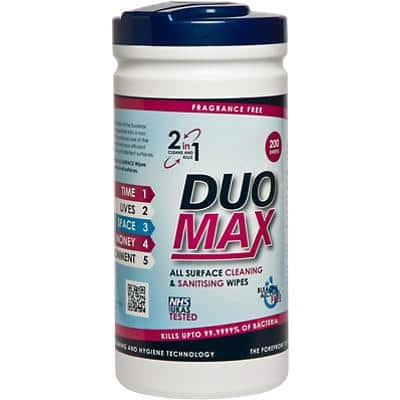 Duo Max Surface Cleaning & Sanitising Wipes 200 Pieces