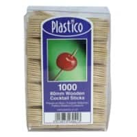 Plastico Cocktail Sticks Birch Wood 8cm Brown Pack of 1000