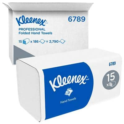 Kleenex Hand Towels 6789 2 Ply M-fold White 15 Pieces of 186 Sheets