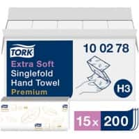 Tork Hand Towels H3 Premium 2 Ply V-fold White 15 Pieces of 200 Sheets