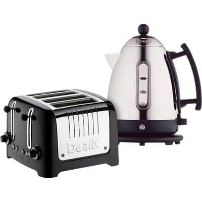 Dualit Cordless Kettle & Toaster Set 1.5L Steel Black & Silver 2-Slot Toaster 2000W