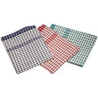 Genware Standard Check Tea Towel Cotton, Polyester Assorted Pack of 10