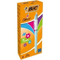BIC 4 Colours Fun Retractable Ballpoint Pen Medium 0.4 mm Pack of 12