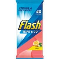 Flash Cleaning Wipes Lemon Pack of 40