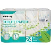 Niceday Professional Toilet Rolls Standard 3 Ply 24 Rolls of 200 Sheets