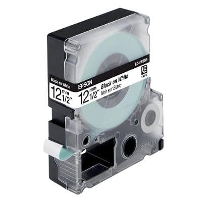 Epson LC-4WBN9 Label Tapes Black on White 12mm x 9m