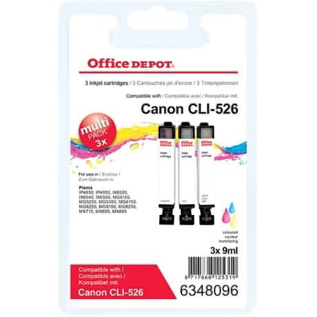 Office Depot Compatible Canon CLI-526CMY Ink Cartridge 3 Colours 3 pieces