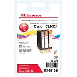 Office Depot Compatible Canon CLI-521C/M/Y Ink Cartridge Cyan, Magenta, Yellow 3 Pieces