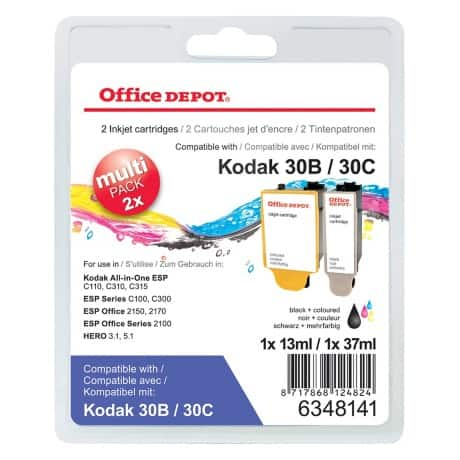 Office Depot 30B & 30C Compatible Ink Cartridge 3 Colours 2 pieces
